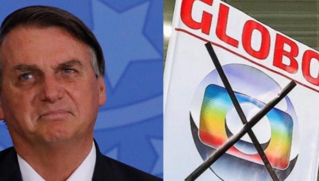 Jair Bolsonaro e placa contra a Globo