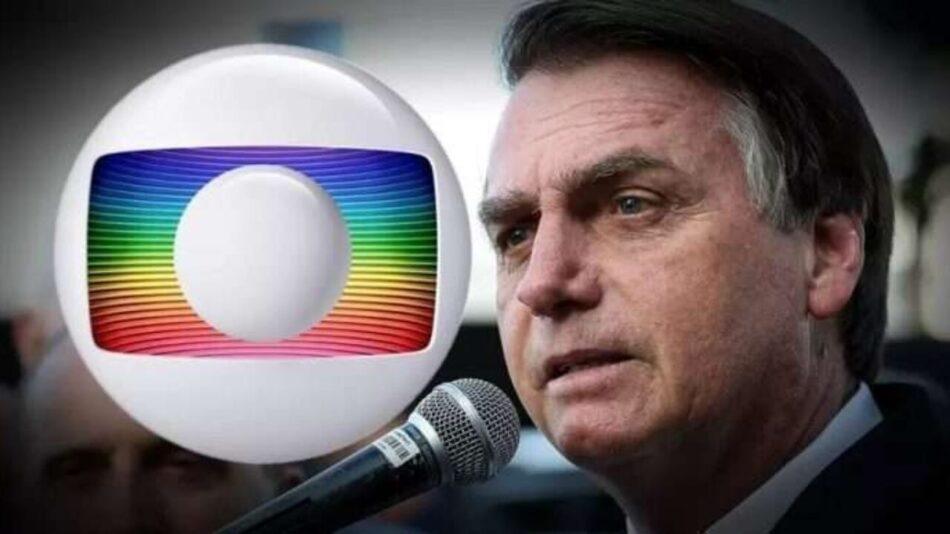 Presidente Jair Bolsonaro e logomarca da TV Globo